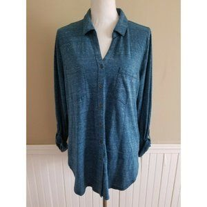 Sonoma Women Blue Button Down Long Sleeve Shirt